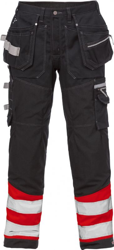Fristads High Vis Gen Y Craftsman Trousers CL 1 2127 CYD (High Vis Red/Black)